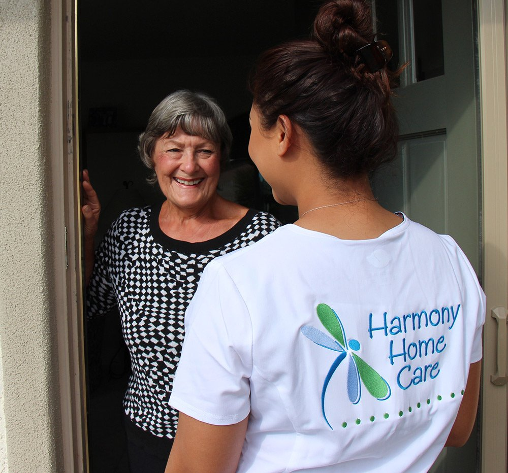 Harmony Home Care staff member with client